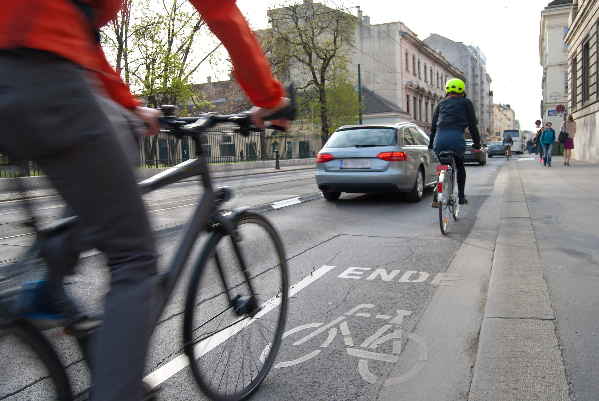Cyclists on the road